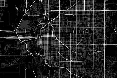 Lincoln Digital Art - Lincoln Nebraska Usa Dark Map by Jurq Studio