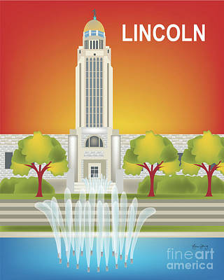 Capitol Building Digital Art - Lincoln, Nebraska Vertical Wall Art By Loose Petals by Karen Young