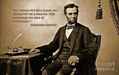 Lincoln On Slavery Art Print by John Malone