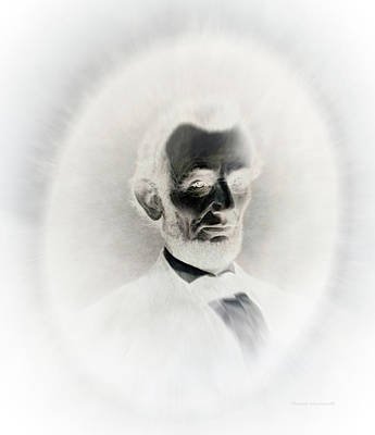 Us Flag Mixed Media - Lincoln Portrait Inverted Image by Thomas Woolworth