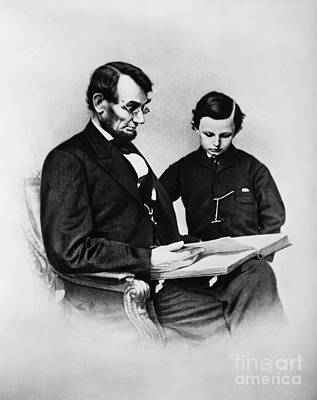 Self Shot Photograph - Lincoln Reading To His Son by Photo Researchers