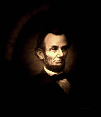 Us Flag Mixed Media - Lincoln Sepia Portrait by Thomas Woolworth