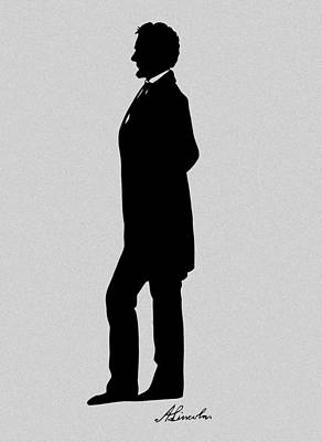 Abraham Lincoln Digital Art - Lincoln Silhouette And Signature by War Is Hell Store