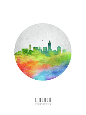 Lincoln Skyline Usneli20 Art Print by Aged Pixel