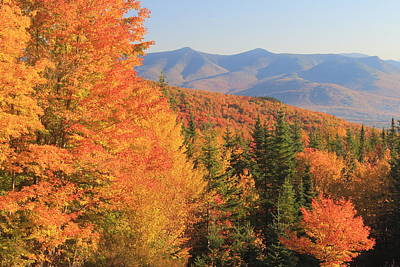 Photograph - Lincoln Warren Road White Mountains Peak Fall Foliage  by John Burk