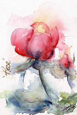 Linda's Rose Watercolor Art Print by CheyAnne Sexton