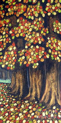 Folkartanna Painting - Linden Trees In The Fall by Anna Folkartanna Maciejewska-Dyba