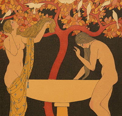 Bird Bath Painting - L'indifferent by Georges Barbier