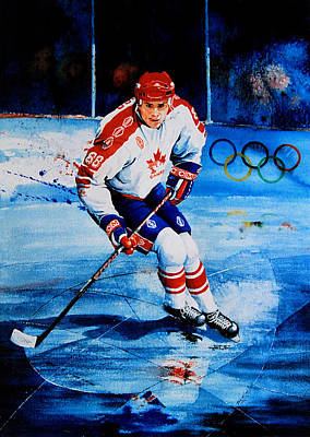 Olympic Hockey Painting - Lindros by Hanne Lore Koehler