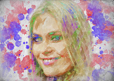 Athletes Royalty-Free and Rights-Managed Images - Lindsey Vonn Watercolor II by Ricky Barnard