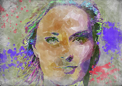Athletes Royalty-Free and Rights-Managed Images - Lindsey Vonn Watercolor by Ricky Barnard