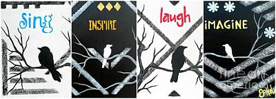 Painting - Line And Design Birdies by JoNeL Art