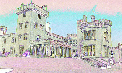 Line Art Of Dromoland Castle Art Print by Carl Purcell