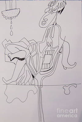 Drawing - Line Art - Showered And Resting by James Lavott
