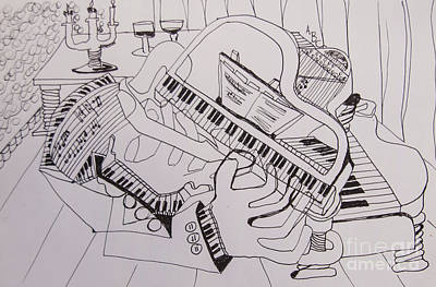 Drawing - Line Art - The Piano Player by James Lavott
