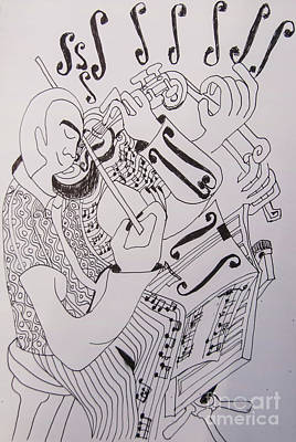 Drawing - Line Art - The Violinist by James Lavott