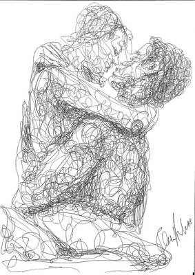Drawing - Line Drawing Couple 1 by OP Freuler