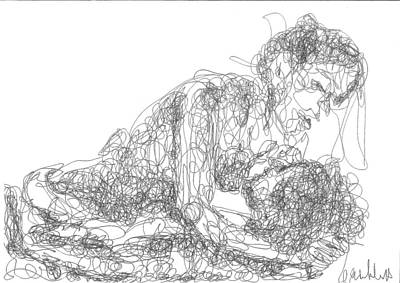 Drawing - Line Drawing Couple 2 by Olivier Freuler