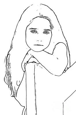 Digital Art - Line Drawing Of  A Girl by Wernher Krutein