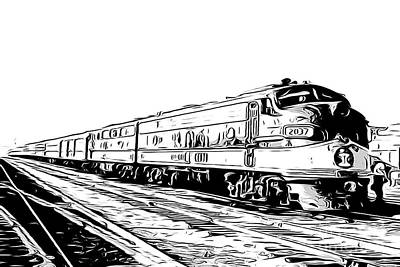 Line Drawing Of An Illinois Central E9a Ic 2037 Train, F-unit, 1950's Art Print
