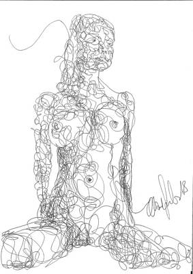 Drawing - Line Drawing Single 1 by OP Freuler