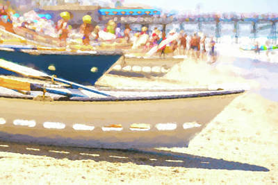 Row Boat Digital Art - Line Em Up Lifeboat Race Prep Watercolor by Scott Campbell