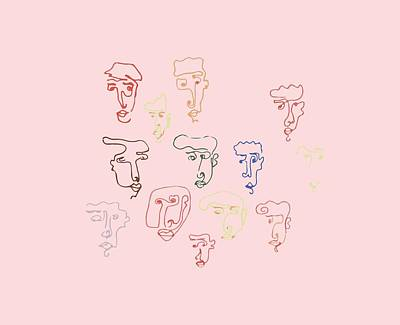 Drawing - line faces I by Cortney Herron