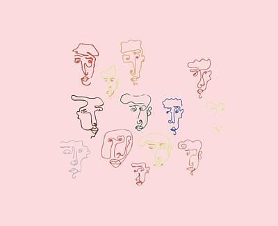 line faces I Art Print