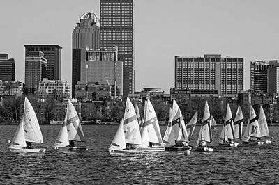 Photograph - Line Of Boats On The Charles River Boston Ma Black And White by Toby McGuire