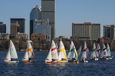 Photograph - Line Of Boats On The Charles River Boston Ma by Toby McGuire