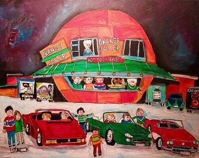 Orange Julep Painting - Line-up At The Oj Market Leaders by Michael Litvack