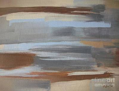 Linear Browns And Blues Art Print by Marsha Heiken
