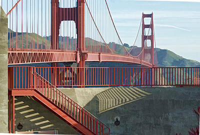 Art Print featuring the photograph Linear Golden Gate Bridge by Steve Siri