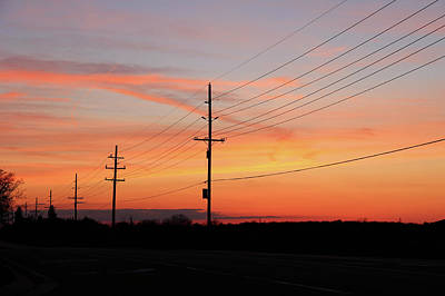 Lineman's Sunset Art Print by Rachel Cohen