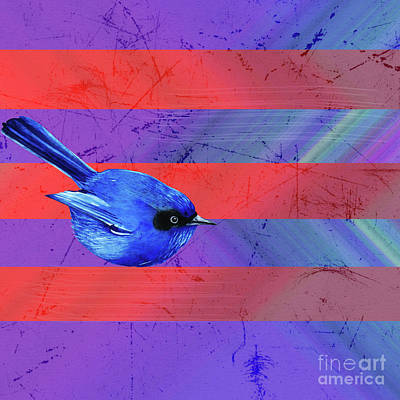 Digital Art - Lines And Bluebird by Donna L Munro