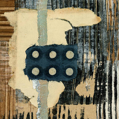 Mixed Media - Lines And Dots Collage Square Format by Carol Leigh