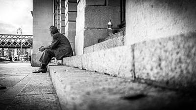 35mm Photograph - Lines - Dublin, Ireland - Black And White Street Photography by Giuseppe Milo