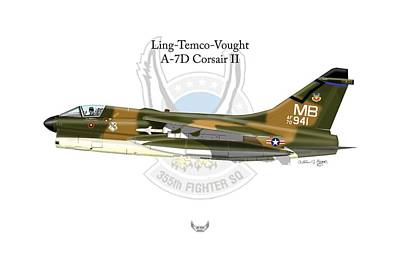 Digital Art - Ling-temco-vaught A-7d Corsair by Arthur Eggers