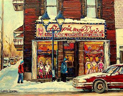 Montreal Street Life Painting - Lingerie Rouge Desire by Carole Spandau