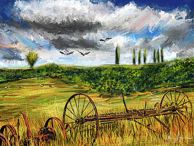 Painting - Lingering Memories Of The Past - Pastoral Artwork - Antique And Vintage Farm Equipment by Lourry Legarde