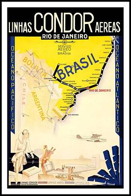 Airplane Mixed Media - Linhas Condor Aereas - Rio De Janeiro, Brazil - Retro Travel Poster - Vintage Poster by Studio Grafiikka