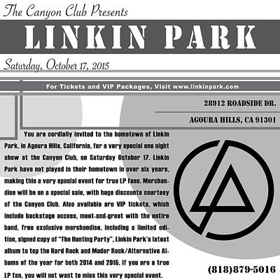 Linkin Park Digital Art - Linkin Park, Canyon Club Invitation Gray by Leon Gorani