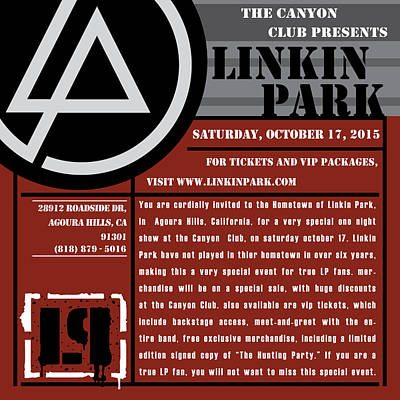 Linkin Park Digital Art - Linkin Park, Canyon Club Invitation, Red by Leon Gorani