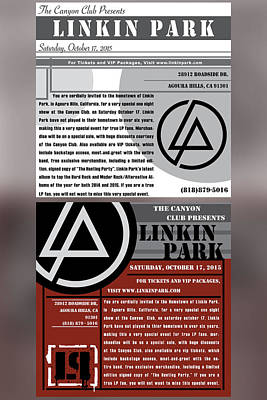 Linkin Park Digital Art - Linkin Park, Canyon Club Invitations by Leon Gorani