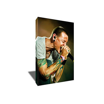 Linkin Park Painting - Linkin Park's Chester Bennington Portrait Canvas Art by Artwrench Dotcom