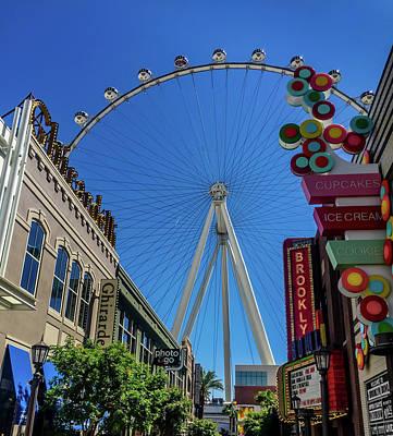 Photograph - Linq Promenade - High Roller Ferris Wheel - Las Vegas by Debra Martz