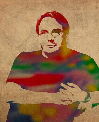 Linus Torvalds Linux Creator Watercolor Portrait On Worn Canvas Art Print