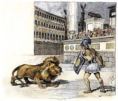 Lion & Gladiator Art Print by Granger