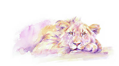 Painting - Lion _ Too Hot To Hunt by Stephie Butler
