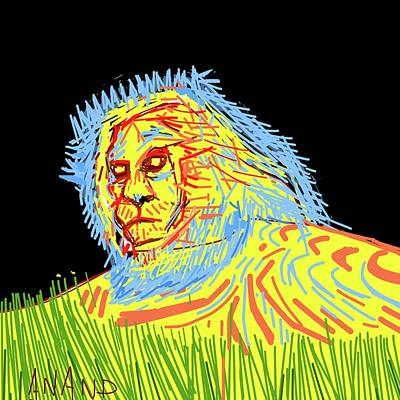 Digital Art - Lion Abstract by Anand Swaroop Manchiraju